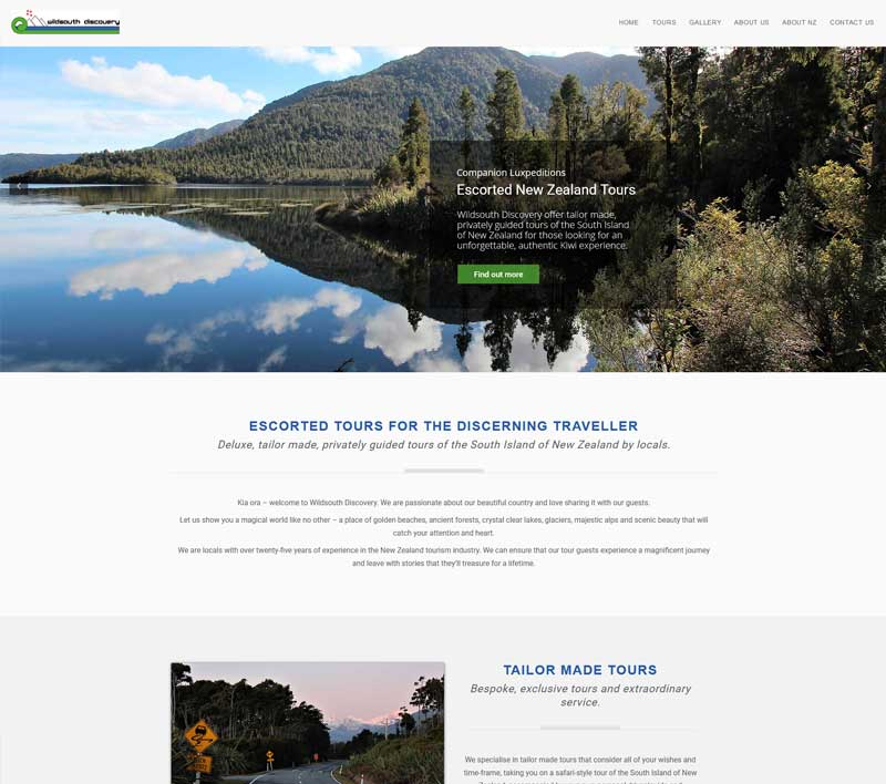 Wildsouth Discovery website by Kiwi Web Works