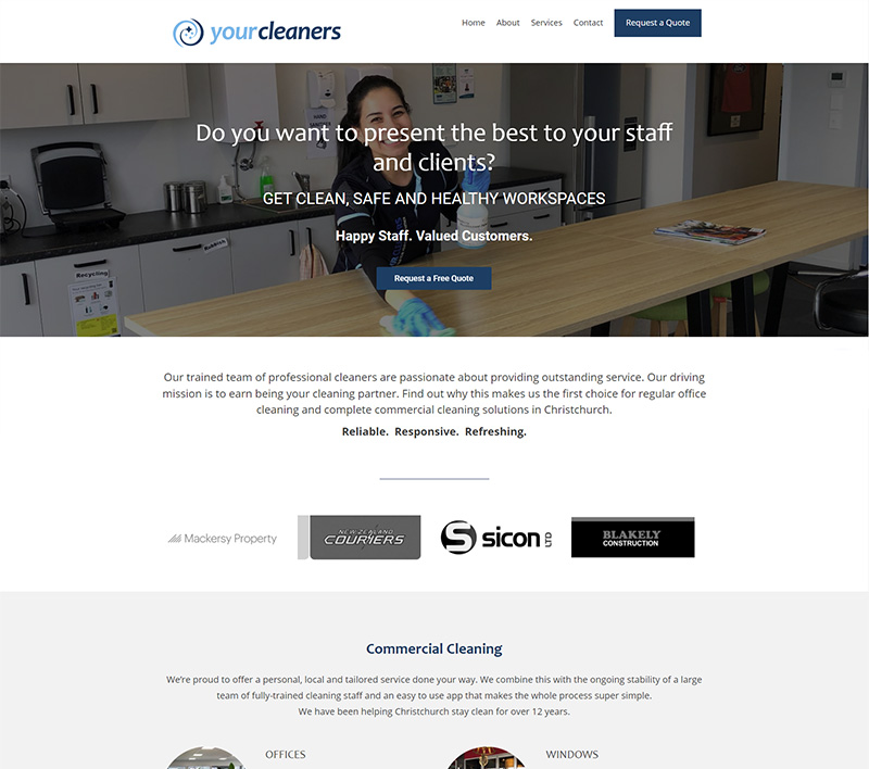 Your Cleaners website created by Kiwi Web Works